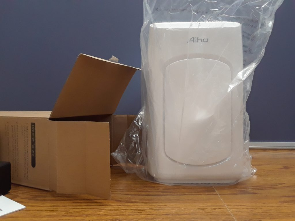Aiho Dehumidifier outside of the box, still in the plastic bag it came in