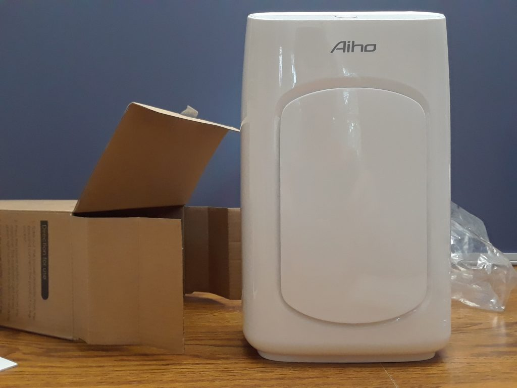Aiho dehumidifier out of box and out of the bag.